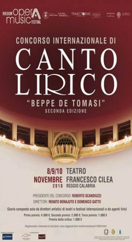 """REGGIO – Torna il concorso Internazionale di Canto Lirico """"Beppe De Tomasi"""""""