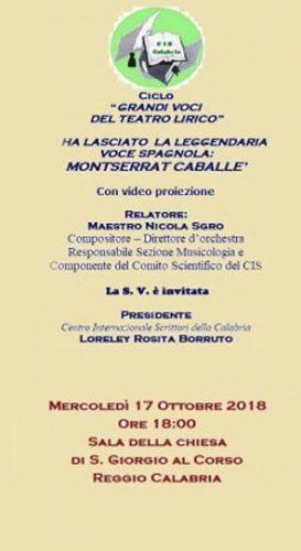 REGGIO – Il Cis ricorda Montserrat Caballè