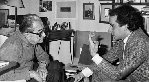 Carlo Giulio Argan e Fernando Miglietta nel 1985