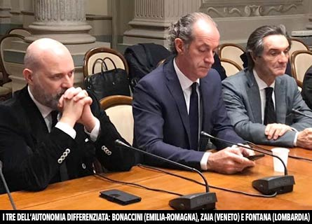 I governatori Bonaccini (Emilia-Romagna), Zaia (Veneto) e Fontana (Lombardia)
