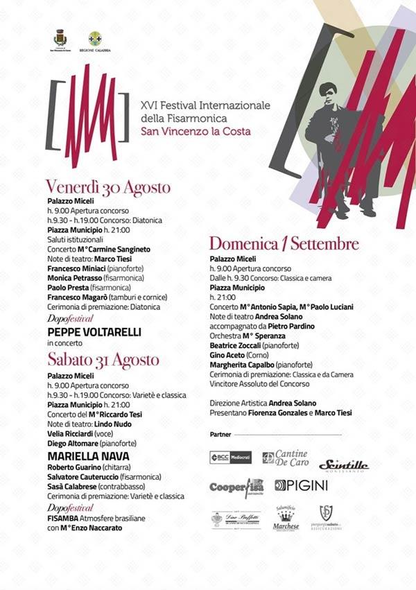 Al via oggi, a San Vincenzo la Costa, la 16esima edizione delFestival Internazionale della Fisarmonica San Vincenzo la Costa.