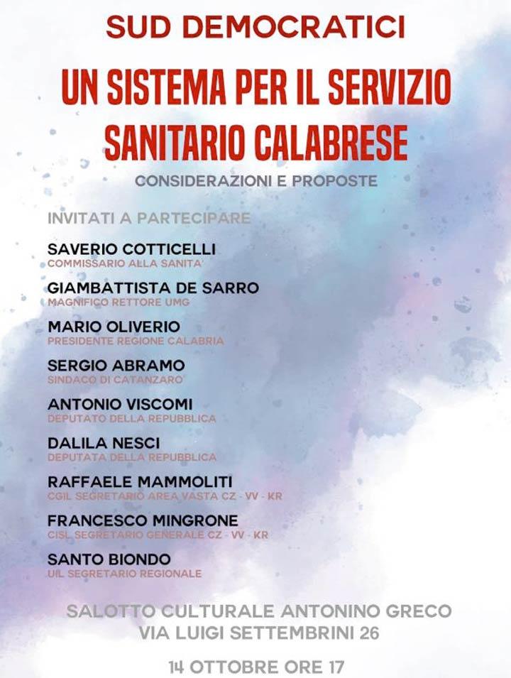Convegno Sanità 14 ottobre a Catanzaro