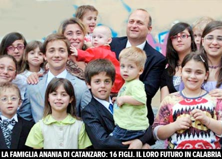La famiglia Anania di Catanzaro: 16 figli