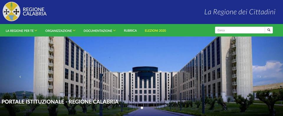La home page del portale della Giunta regionale della Calabria