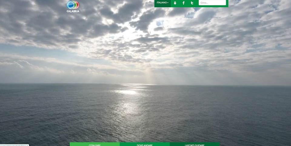 La home page del portale Turiscalabria