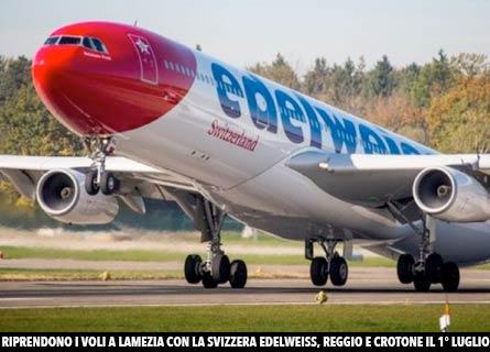 Un volo della Compagnia aerea Edelweiss