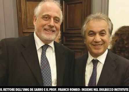 Il Rettore Giovambattista De Sarro e il prof. Franco Romeo