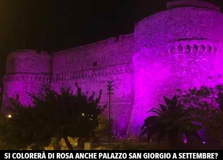 Castello Aragonese di reggio Calabria colorato di rosa