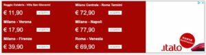 Tariffe Italo a confronto