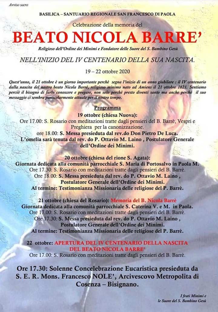celebrazioni beato Nicola Barrè