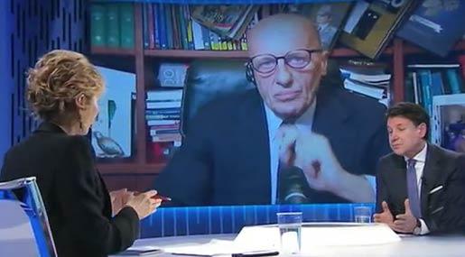 Giuseppe Conte dalla Gruber col direttore Alessandro Sallusti