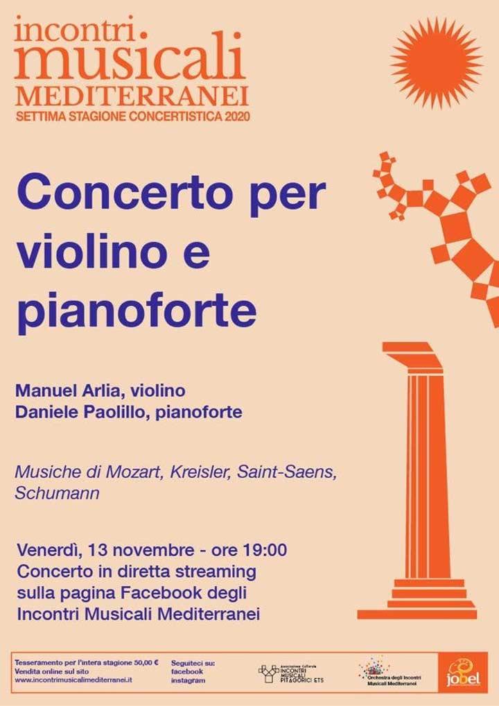 incontri musicali mediterranei concerto 13 novembre 2020