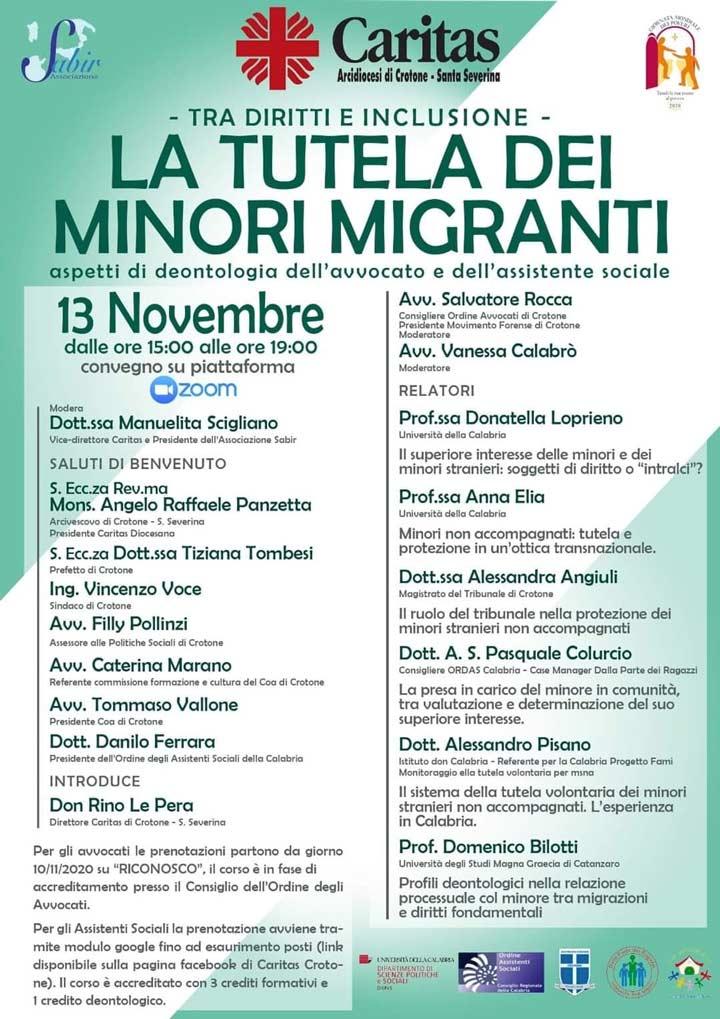 convegno 13 novembre su la tutela dei minori migranti