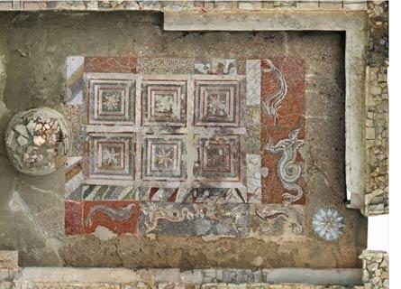 Il mosaico dei delfini al Parco archeologico dell'Antica Kaulon