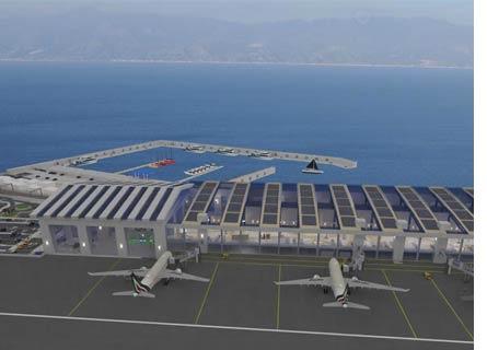 Il rendering del progetto del nuovo Aeroporto del Mediterraneo