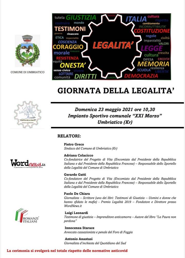 Giornata della Legalità a Umbriatico