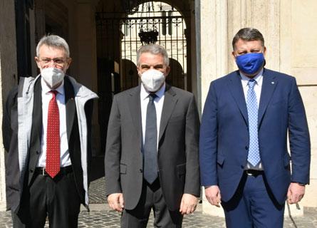 Maurizio Landini, Luigi Sbarra e Pier Paolo Bombardieri