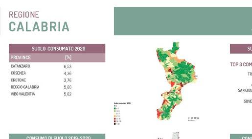 Rapporto su Consumo del Suolo Calabria 2021