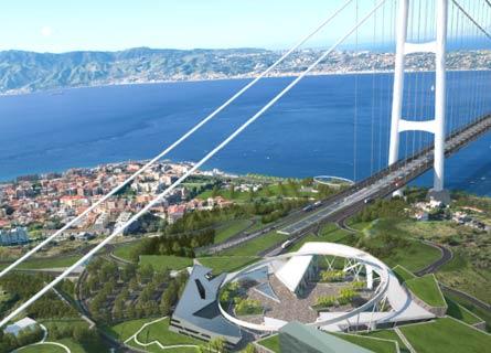 Il rendering del Ponte sullo Stretto