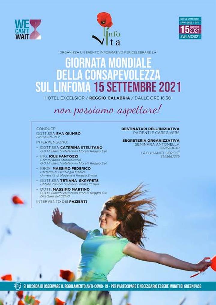 giornata mondiale consapevolezza del Linfoma a Reggio Calabria