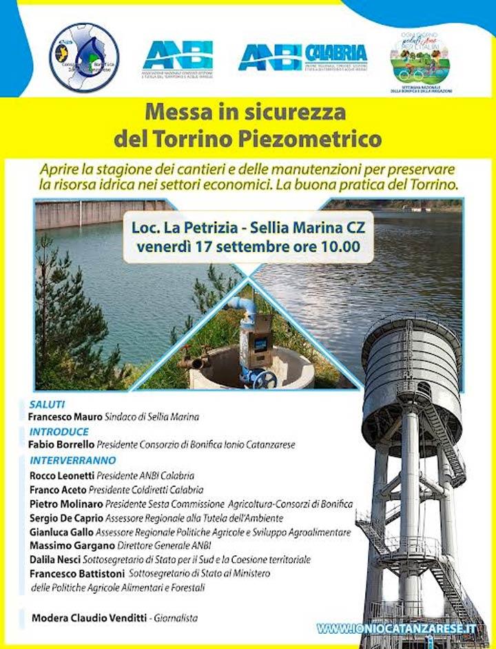 Venerdì inaugurazione e messa in sicurezza del Torrino Piezometrico a Sellia Marina